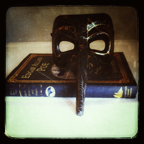 Edgar Allen Poe Book and Masquerade Mask   Patrick Scott Barnes