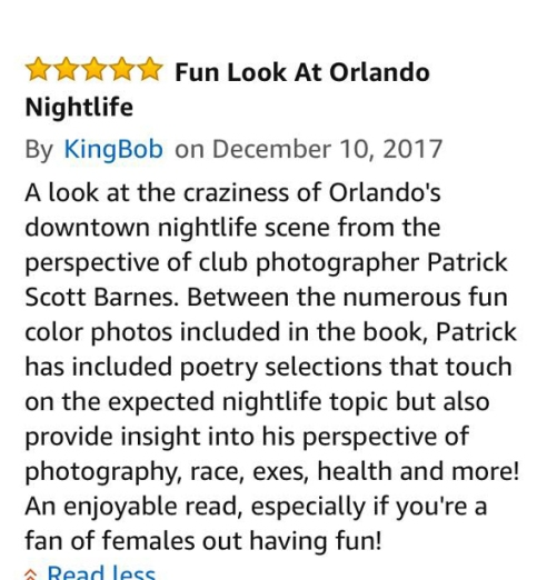 Amazon five star review of Three Orlando Nightspots