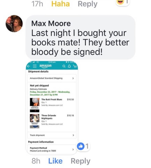 Australian connection. Max Moore buying Three Orlando Nightspots and The Butt Freak Blues.