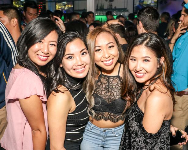 Four Asian women in a Downtown Orlando nightspot.