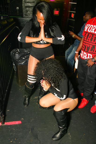 Two VIP women dressed in black in an Orlando nightclub.