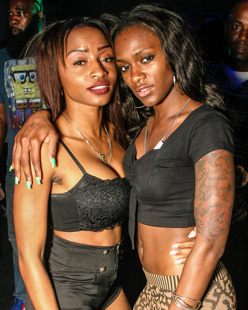 Two young black ladies in an Orlando nightclub.